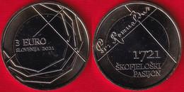 """Slovenia 3 Euro 2021 """"Škofjeloški Pasijon"""" BiMetallic Coin UNC - Slovenia"""