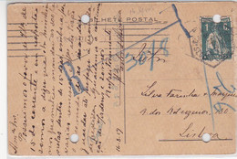 Portugal    Bilhete Postal  Circulado Do Porto Para Lisboa  Em 1919 - Porto