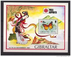 03150  -  Gibraltar  -  Blocs    :   Yv  15  **   Papillon - Gibraltar