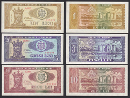 Moldawien - Moldova - 1,5,10 Leu Banknoten 1992 Pick 5,6,7  UNC (1)   (17882 - Moldavië