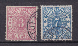 Wuerttemberg - 1869 - Michel Nr. 38/39 K1/K2 - Gestempelt - 30 Euro - Wurttemberg