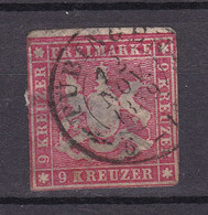 Wuerttemberg - 1857 - Michel Nr. 9 K2 - Gestempelt - 90 Euro - Wurttemberg
