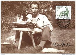 Sweden - Postcard Maximum 1983 Filipstad Nils Ferlin Typewriter - Cartes-maximum (CM)