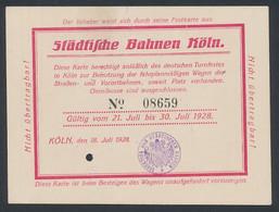 Fahrkarte Städtische Bahnen Köln 1928, No. 08659 - Zonder Classificatie