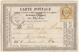 France - 1876 Yv.55 Obl. GC 616 Sur Carte (OFF10) De BRETTEVILLE-L'ORGUEILLEUSE, Calvados à MEULAN, Seine-&-Oise - 1849-1876: Classic Period