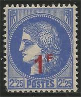 334 France Yv 487 Cérès Surcharge 1F Sur 2f25 MNH ** Neuf SC (487-1) - Neufs