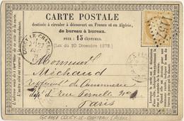 France - 1873 Yv.59 Obl. GC 1157 Sur Carte (OFF10) De COUCY-LE-CHÂTEAU, Aisne à PARIS - 1849-1876: Klassieke Periode
