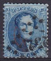 """Belgique - N°15A - 20c Bleu Médaillon Dentelé étroit - Marque """"G"""" Rouge De La Banque Guillochin (G15) - Lpts """"252"""" MONS - 1863-1864 Medallions (13/16)"""