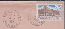 ST GERMAIN En LAYE  70c Y.T.1501  SEUL Sur Enveloppe   De 53 LA DOREE Postée Le 18 4 1968 Cachet Rond Avec Tirets - 1961-....