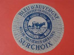 Etiquette De Bleu D'Auvergne Coudert Gandilhon Cantal 15 - Cheese