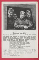 """WW2 - Soldats Allemands De La Wehrmacht Dans Le Train - Texte De La Chanson """" Komm Zurück """"( Voir Verso ) - War 1939-45"""