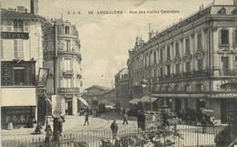 ANGOULEME  Rue Des Halles Centrales Animée Trams Commerces Attelage RV Beau Cachet 107e Regiment D' Infanterie - Angouleme