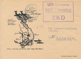 NIESKY  -  1966  ,  VEB Stahlbau  ,  ZKD  -  Karte Von Vietnam  ,  Down With The War Of The USA !  Help Viet-Nam ! - Briefe U. Dokumente
