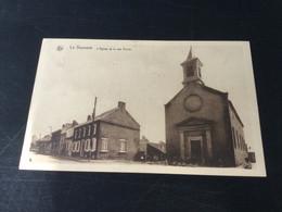 CP Ancienne De La Bouverie : L'église Et La Rue Ferrer (1938) - Frameries