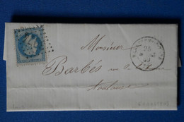 Y10 FRANCE BELLE LETTRE 1869  POUR TOULOUSE   + AFFRANCHISSEMENT INTERESSANT - 1853-1860 Napoléon III