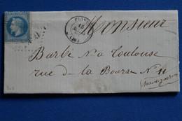 Y10 FRANCE BELLE LETTRE 1865  FRONTON   + AFFRANCHISSEMENT INTERESSANT - 1853-1860 Napoléon III