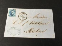 Belgique : N°15 Sur Pli De Gand à Malines (4/12/1863) - 1863-1864 Medallions (13/16)