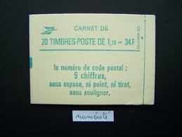 2318-C1a CONF. 8 CARNET NUMEROTE FERME 20 TIMBRES LIBERTE DE GANDON 1,70 VERT CODE POSTALE (BOITE B) - Standaardgebruik