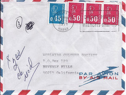 TYPE MARIANNE DE BEQUET N° 1663 + 1664x3 SUR L. DE REIMS / 25.9.71 POUR LES USA - 1971-76 Marianne De Béquet