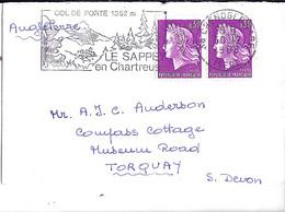 TYPE MARIANNE DE CHEFFER N° 1536x2 SUR L. DE GRENOBLE / 30.12.68 POUR L'ANGLETERRE - 1967-70 Marianne De Cheffer