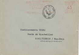 Env EMA Obl STRASBOURG PL DE LA GARE Du 12.1.1962 Adressée à Schiltigheim - Alsace Lorraine