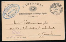"HELVETIA - C.P. - PORTOFREI - Cachet ""BERN 3 - BUNDESHAUS"" Dd. 04-III--1926 - (ref. 78) - Stamped Stationery"