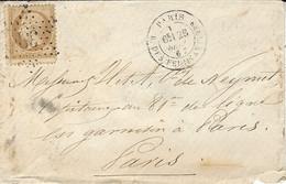 1867- Petite Enveloppe  De PARIS / R. DES FEUILLANTINES  Affr. N° 21 ( Décalage Vertical ) Oblit. étoile 38 - 1849-1876: Période Classique
