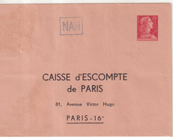 "FRANCE : ENTIER POSTAL . 15 F . TYPE MULLER . EP TSC . "" CAISSE D'ESCOMPTE DE PARIS  "" . 1956 . - Sobres Tipos Y TSC (antes De 1995)"