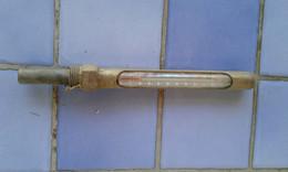Thermomètre Mercure Rouge Ancien De Chaudière Ou Ballon D'eau Chaude Jusqu'à 100 Degrés Long 21 Cm - Unclassified