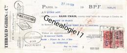 75 24551 PARIS SEINE 1938 Maison THIBAUD GIBBS Rue Marignan CHAMPS ELYSEES Parfumerie - Bills Of Exchange