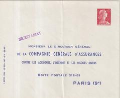 "FRANCE : ENTIER POSTAL . 0.25 . TYPE MULLER . EP TSC . "" COMPAGNIE GENERALE D'ASSURANCE . 4- 63 "" . 1960 . - Sobres Tipos Y TSC (antes De 1995)"