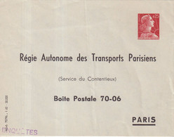 "FRANCE : ENTIER POSTAL . 0.25 . TYPE MULLER . EP TSC . "" RATP 1960 "" . 1960 . - Buste Postali E Su Commissione Privata TSC (ante 1995)"