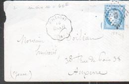 Deux Sevres, 1874, LSC Avec Convoyeur De Station POLLIGNY, Ligne 215,Flers à Granville, Taches Blanches Autour Du Visage - 1849-1876: Période Classique