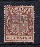 Mauritius: 1921/26   Badge    SG211     4c    Brown    MH - Mauritius (...-1967)
