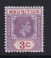 Mauritius: 1938/49   KGVI    SG253d     3c  Reddish Lilac & Red   MH - Mauritius (...-1967)
