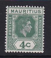 Mauritius: 1938/49   KGVI    SG254c     4c  Deep Dull Green   MH - Mauritius (...-1967)