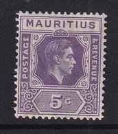 Mauritius: 1938/49   KGVI    SG255     5c  Slate Lilac  MH - Mauritius (...-1967)