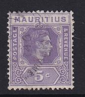 Mauritius: 1938/49   KGVI    SG255b     5c  Pale Lilac  Used - Mauritius (...-1967)