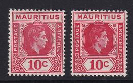 Mauritius: 1938/49   KGVI    SG256 / 256c     10c  Rose-red And Deep Reddish Rose   MH - Mauritius (...-1967)