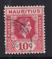 Mauritius: 1938/49   KGVI    SG256c     10c  Deep Reddish Rose   Used - Mauritius (...-1967)