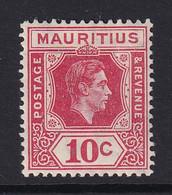 Mauritius: 1938/49   KGVI    SG256c      10c  Deep Reddish-rose    MH - Mauritius (...-1967)