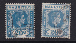 Mauritius: 1938/49   KGVI    SG258     20c  [Shades]  Used (x2) - Mauritius (...-1967)