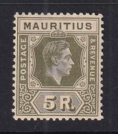 Mauritius: 1938/49   KGVI    SG262a     5R   Sage-green   MH - Mauritius (...-1967)