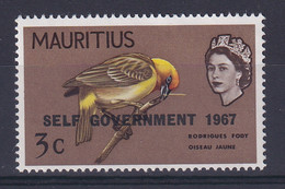 Mauritius: 1967   QE II - Birds 'Self Government' OVPT  SG350     3c     MNH - Mauritius (...-1967)