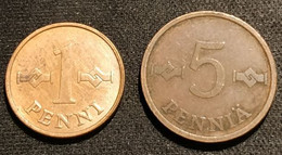 FINLANDE - FINLAND - LOT DE 2 PIECES - 1 PENNI 1963 - KM 44 -  5 PENNIA 1972 - KM 45 - Finland
