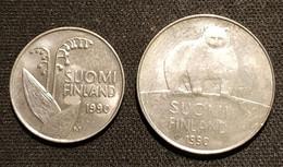 FINLANDE - FINLAND - LOT DE 2 PIECES - 10 PENNIA 1990 - KM 65 - 50 PENNIA 1990 - KM 66 - ( Ours Polaire - Muguet ) - Finland