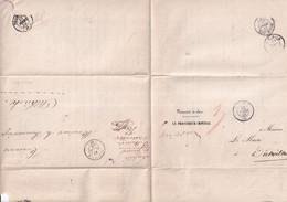 1856 - HAUT-RHIN - LETTRE En FRANCHISE ALLER Et RETOUR (ALTKIRCH / DIETTWILLER) Avec T15 ALTKIRCH + HABSHEIM (RARE) - 1849-1876: Période Classique