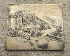 """CHAMOUNY """" Chamonix """" HOTEL ROYAL Et De L'UNION - SUR PLAQUE D'IMPRIMERIE EN METAL - Engravings"""