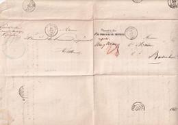 1856 - HAUT-RHIN - LETTRE En FRANCHISE ALLER Et RETOUR (ALTKIRCH / BARTENHEIM) Avec T15 ALTKIRCH + SIERENTZ (RARE) - 1849-1876: Période Classique