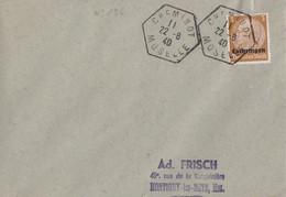 Lettre Obl. Cheminot Moselle (T 220) Le 22/8/40 Sur TP 3pf Lothringen (Imprimé) Pour Montigny Les Metz - Alsace Lorraine